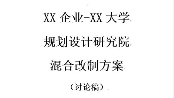 X企业与X大学设计规划院混改方案 5号字体36页PDF